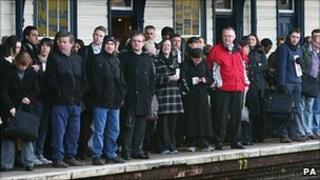 Commuters waiting at Maidstone station