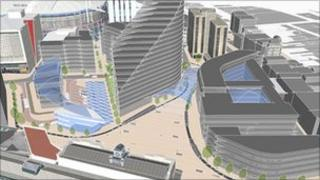 An artist's impression suggesting how the business district in Cardiff could look
