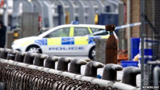 Suspected torpedo at Peterhead harbour [Pic: Newsline]