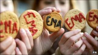 EMA protesters with biscuits