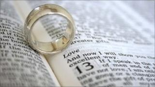 Wedding ring and Bible