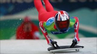 Amy Williams competing in the women's skeleton