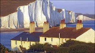View of the Seven Sisters chalk cliffs from Seaford Head