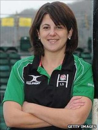 Rugby referee Clare Daniels