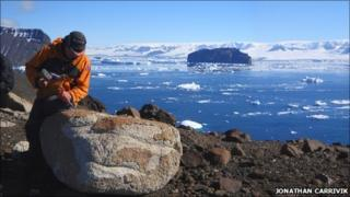 British Antarctic Survey field assistant Alan Hill in Antarctica