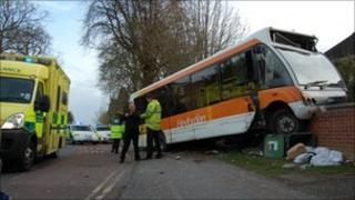 Bus crashed into wall