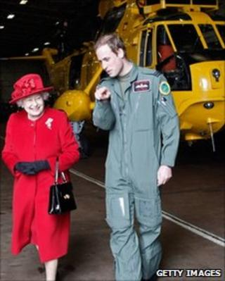 The Queen and Prince William at RAF Valley in Anglesey