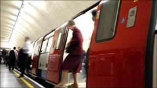Woman getting off a train