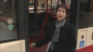Sarah Griffiths chained to bus door