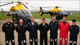 Police helicopter crew at Shoreham airport