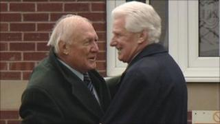 Mourners at Bob Greaves funeral