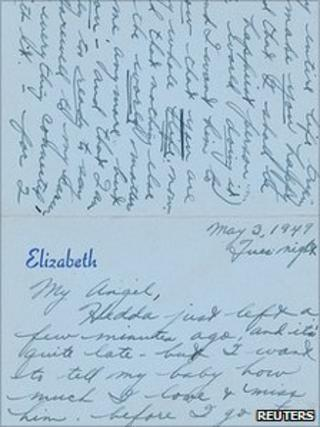 Letter written by Elizabeth Taylor in 1949