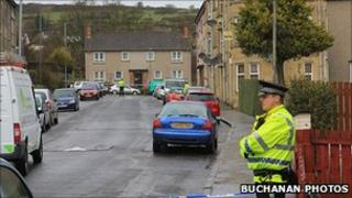 Police cordon in the vicinity of Gertrude Place, Barrhead