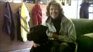Adrienne Banks with Buster who is a Rottweiler cross dog who needs rehoming