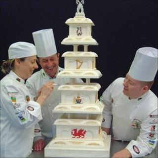 Sally Owens (left) with Welsh National Culinary Team manager Graham Tinsley and team member Toby Beevers