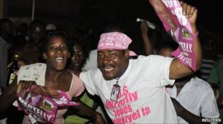 "Supporters of Michel ""Sweet Micky"" Martelly celebrate in Port-au-Prince"