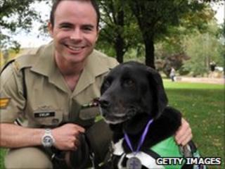 Black labrador retriever Sarbi with handler