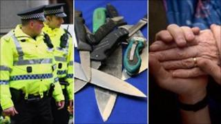 Police, knives and a generic image of a carer