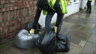 Rubbish being collected