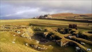 The historic site of Jarlshof in the Shetland Islands