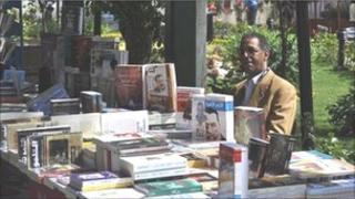 A bookseller at a book fair in Tahrir square