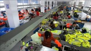 Chinese workers at a textile factory in Hefei