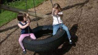 Children in play park