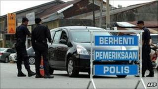 Malaysian police road block 6 April 2011