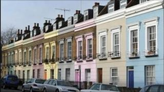 Pastel coloured terrace houses in Camden, London