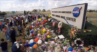 A makeshift memorial at Nasa Johnson Space Center in Houston after the 2003 Columbia shuttle disaster