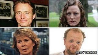Clockwise from top left: Linus Roache, Geraldine Somerville, Toby Jones and Celia Imrie