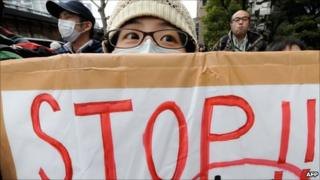 Anti-nuclear power protesters in Japan