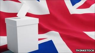 A ballot box on a union flag