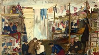 Scene in a camp, painted by Arnold Daghani