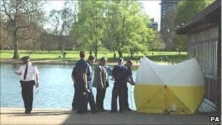 Police officers at the scene by the Serpentine Lake in Hyde Park