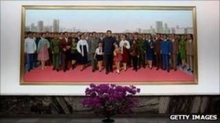 Portrait painting of Kim Il Sung, People's Palace of Culture, 2 April 2011, Pyongyang, North Korea