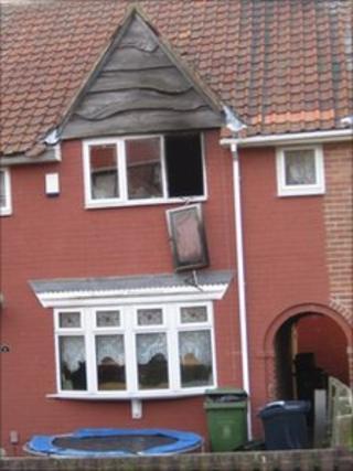 The scene of the house fire in Wrekenton