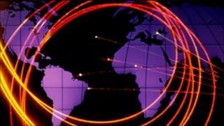 Fibre optic cables against world map