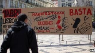 A billboard in Lisbon calling for workers' rights