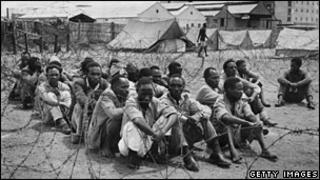 Mau Mau suspects in a prison camp in Nairobi in 1952