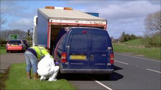 The man was arrested in a van in County Tyrone