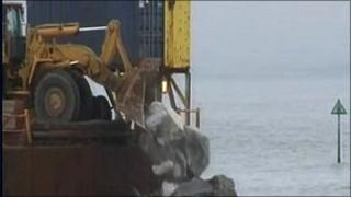 The rocks being unloaded in Borth