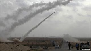 Rebel rockets fired in the Libyan desert, near Brega, on 6/4/11