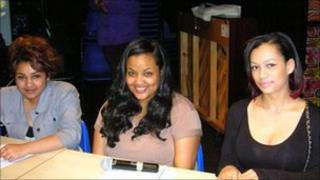 Jay Begum, Huda Al Bander and Roxane Bellanger taking part in a debate on the referendum at a sixth-form college in London