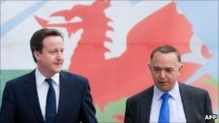 Prime Minister David Cameron with Welsh Tory leader Nick Bourne in March