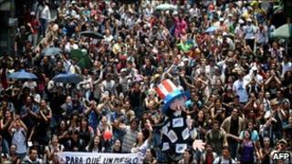 Student protesters in Medellin, Colombia