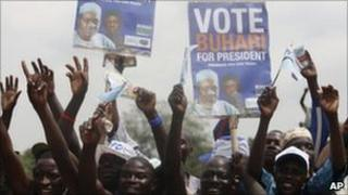Supporters of opposition candidate Muhammadu Buhari