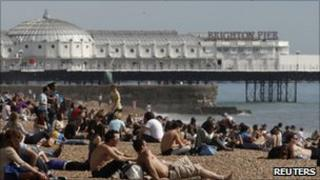 Sun seekers on Brighton beach