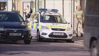 Police car at scene