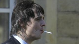 British rock star Pete Doherty, is seen at the entrance to Snaresbrook Crown Court in east London,